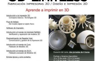 Curso de aprendizaje al uso de impresoras 3D.